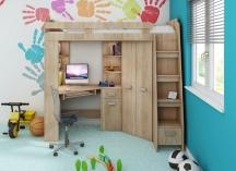Zestaw meblowy ANTRESOLA: Łóżko piętrowe, biurko narożne, szafa narożna, regał, półki, materac