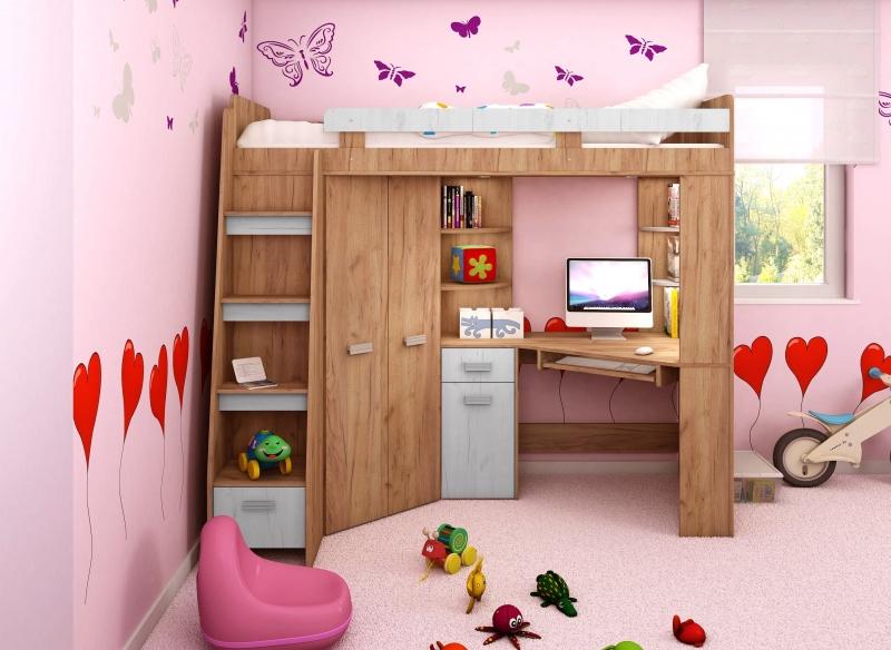 Wielofunkcyjne łóżko Piętrowe Z Narożną Szafą Biurkiem