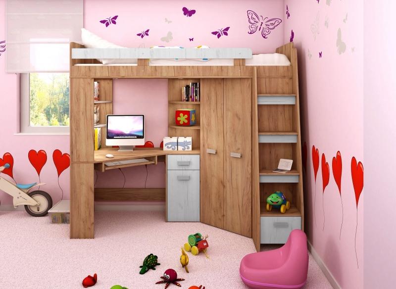 Meble Młodzieżowe łóżko Piętrowe Biurko Narożne Szafa