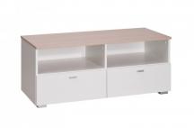 Stolik biały RTV z szufladami do salonu, sypialni, pokoju - System Living L2