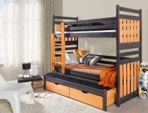 Sosnowe łóżko piętrowe trzyosobowe Sambor