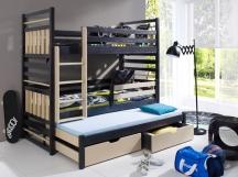 Sosnowe łóżko piętrowe trzyosobowe HIPOLIT