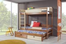 Sosnowe łóżko piętrowe trzyosobowe NATU III