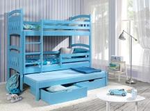 Sosnowe łóżko piętrowe JAKUB III - trzyosobowe