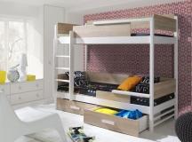 Tres piętrowe łóżko dwu osobowe z drewna sosnowego.