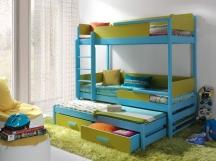 Trzy osobowe piętrowe łóżko QUATRO z drewna sosnowego