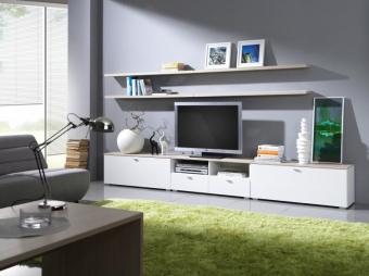 Eleganckie białe meble do salonu, pokoju gościnnego - System Living NOWOŚĆ
