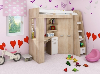 Piętrowe łóżko dziecięce ANTRESOLA Prawa z szafą i biurkiem - PROMOCJA!!!