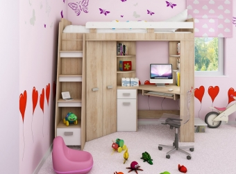 Piętrowe łóżko dziecięce ANTRESOLA Lewa z szafą i biurkiem - PROMOCJA!!!