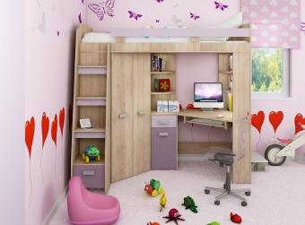 Piętrowe łóżko dziecięce ANTRESOLA Lewa z szafą, biurkiem i materacem bonellowym- PROMOCJA!!!