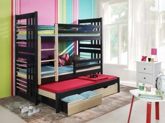 Sosnowe łóżko piętrowe trzyosobowe Roland III.