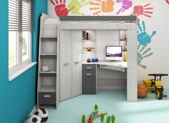 Wielofunkcyjne łóżko piętrowe z narożną szafą, biurkiem regałem NOWOŚĆ!!!