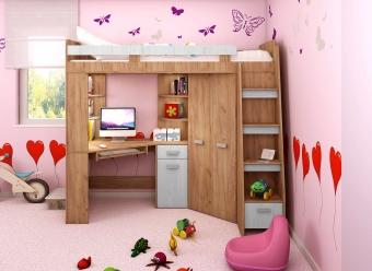 Meble młodzieżowe: Łóżko piętrowe, biurko narożne, szafa narożna, regał, półki. ANTRESOLA!!! PROMOCJA!!!