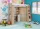 Piętrowe łóżko dziecięce ANTRESOLA Prawa z szafą, biurkiem i materacem bonellowym - PROMOCJA!!!